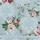 Декоративная ткань  лонета неус/neus  цветы  гранат ,фон св.зеленый 148875, фото 3