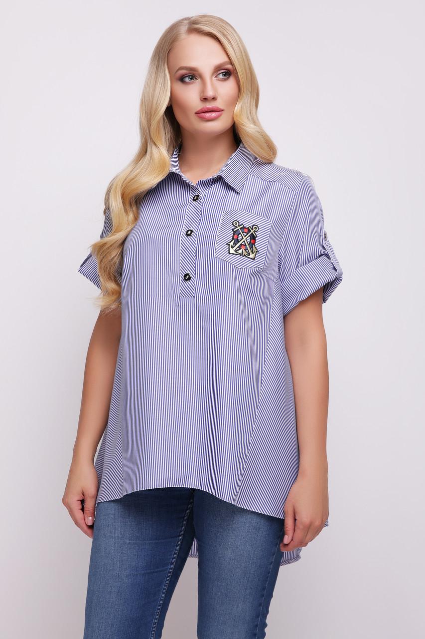 Рубашка женская Ангелина голубая полоска