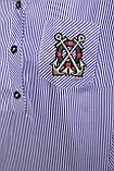 Рубашка женская Ангелина голубая полоска 48/50 р, фото 3