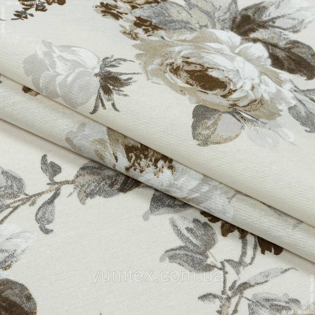 Декоративна тканина лонета еліана/eliana квіти великі сірий бежевий,молочний фон 148883