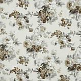 Декоративна тканина лонета еліана/eliana квіти великі сірий бежевий,молочний фон 148883, фото 2