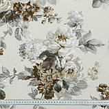 Декоративна тканина лонета еліана/eliana квіти великі сірий бежевий,молочний фон 148883, фото 3