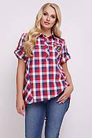 Рубашка женская Ангелина красная клетка, фото 1