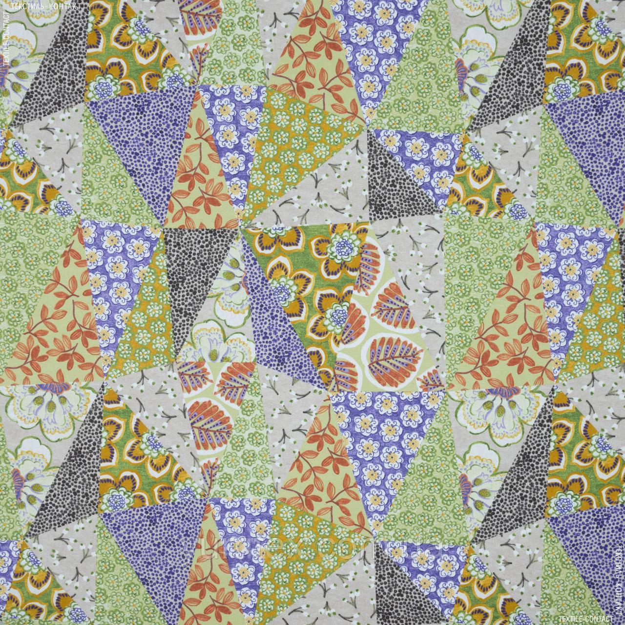 Декоративна тканина панама хеві/ hevia печворк зелений,беж,фіолет 148944