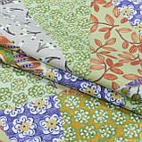 Декоративна тканина панама хеві/ hevia печворк зелений,беж,фіолет 148944, фото 2