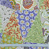 Декоративна тканина панама хеві/ hevia печворк зелений,беж,фіолет 148944, фото 3