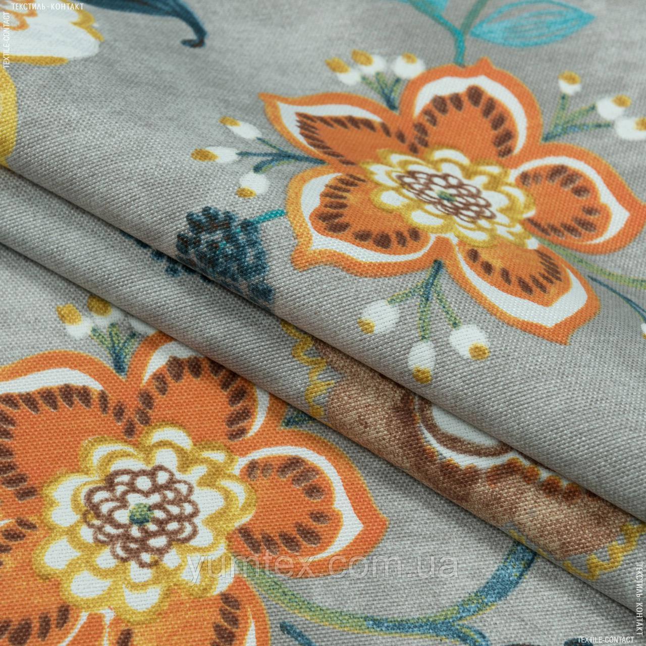 Декоративная ткань  панама хеви/panama hevia цветы,фон серый 148942