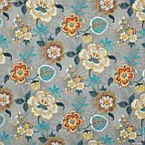 Декоративная ткань  панама хеви/panama hevia цветы,фон серый 148942, фото 2
