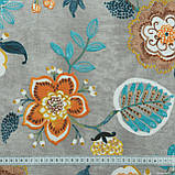 Декоративная ткань  панама хеви/panama hevia цветы,фон серый 148942, фото 3