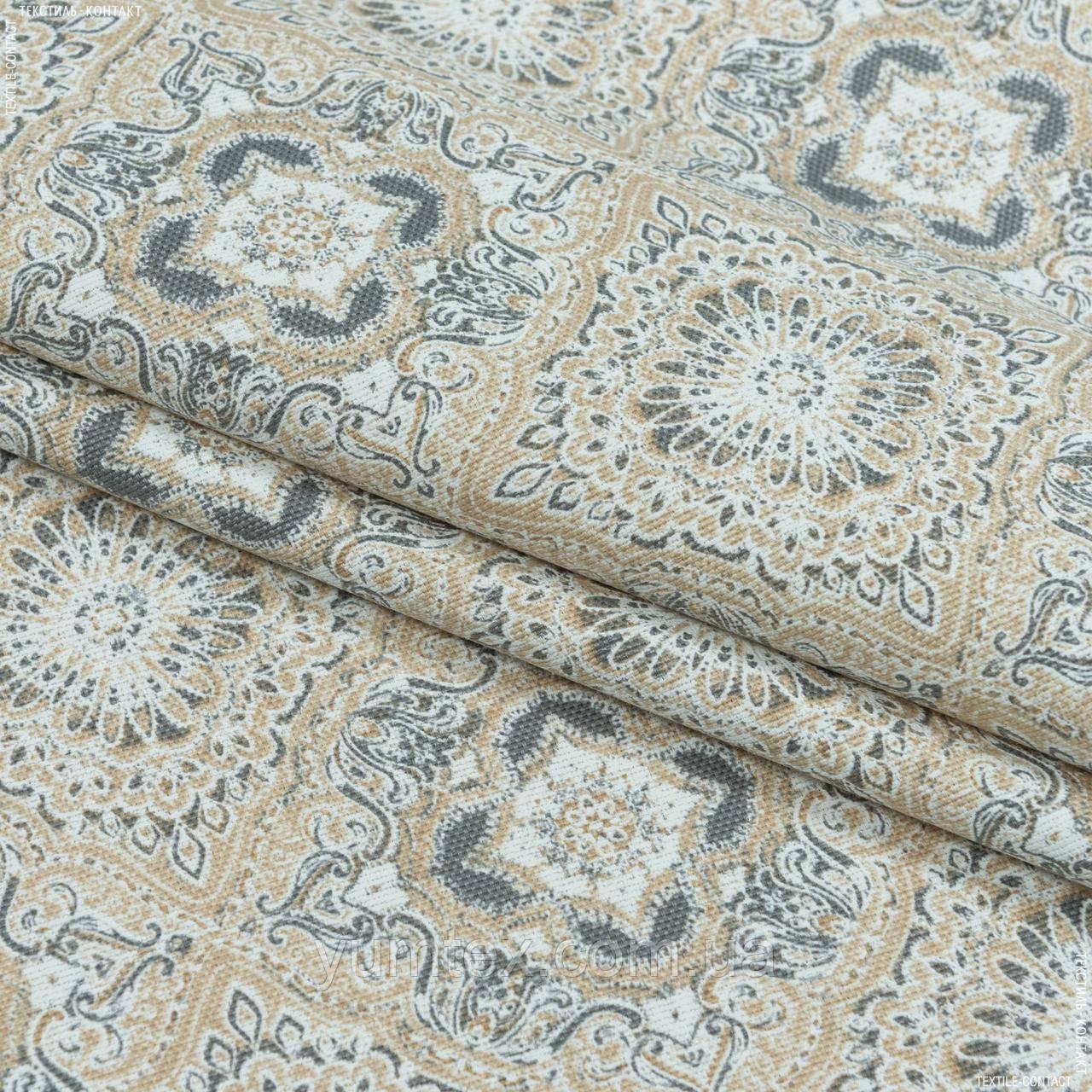 Декоративна тканина панама сорен/ soren ромб-ажур,беж,сірий 148975