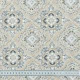 Декоративна тканина панама сорен/ soren ромб-ажур,беж,сірий 148975, фото 3