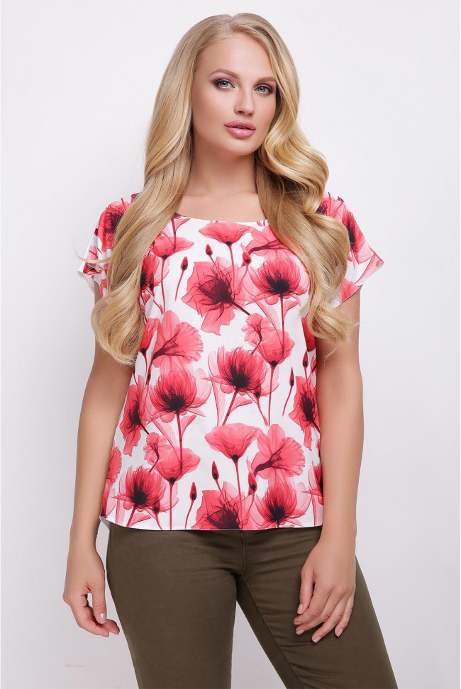 d37ee655b77 Свободная белая женская футболка с цветочным принтом