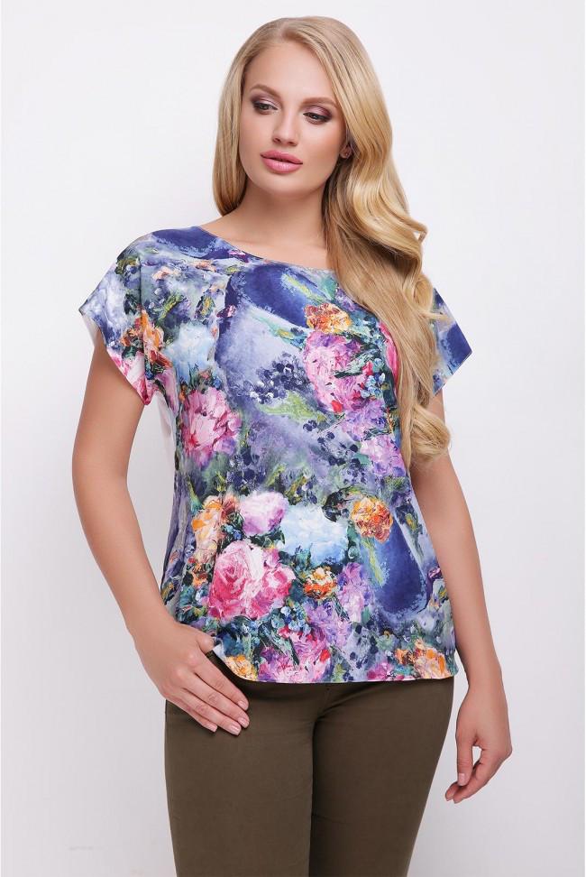 82c4da69520 Свободная сине-белая женская футболка с цветочным принтом