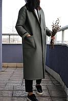Женское демисезонное пальто с отделкой из бархата. Жіноче демісезонне пальто з обробкою з оксамиту., фото 1