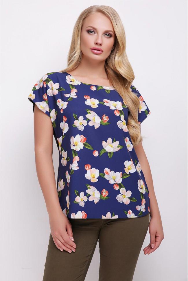 9f69526316d0f Свободная сине-черная женская футболка с цветочным принтом, цветы яблони на  синем, большие