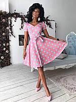 Розовое платье клеш в крупный горох, фото 1