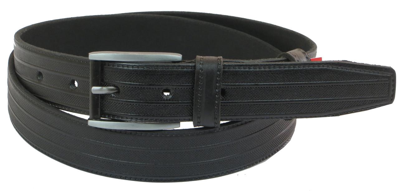 Чоловічий шкіряний ремінь під штани Skipper 1059-33 чорний 3,3 см
