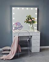 Гримерный стол, стол для макияжа, зеркало с подсветкой.