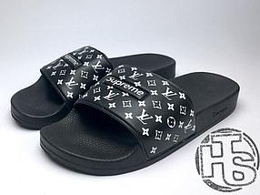 Мужские шлепанцы Supreme x Louis Vuitton Black White - купить по ... 39e2415e00d
