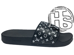 Мужские шлепанцы реплика Supreme x Louis Vuitton Black/White