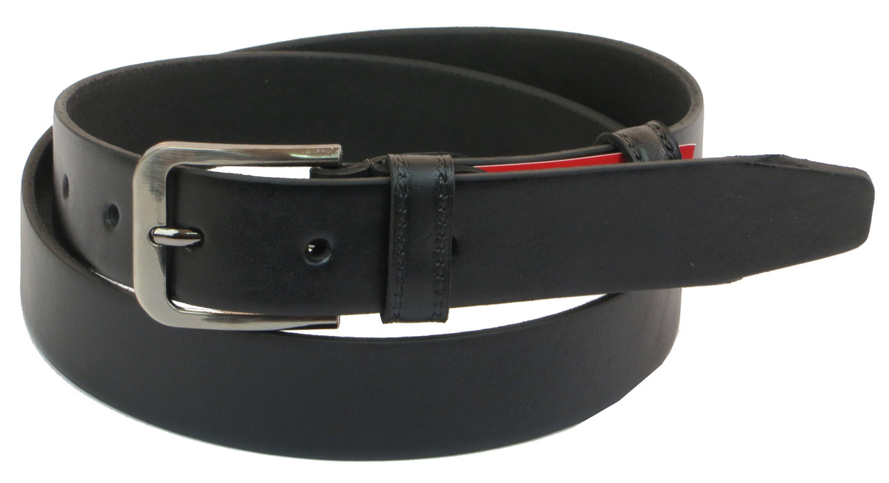 Мужской кожаный ремень под брюки Skipper 1068-33 черный 3,3 см