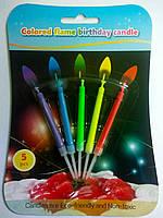 Свечи для торта с разноцветными огнями 5шт/уп