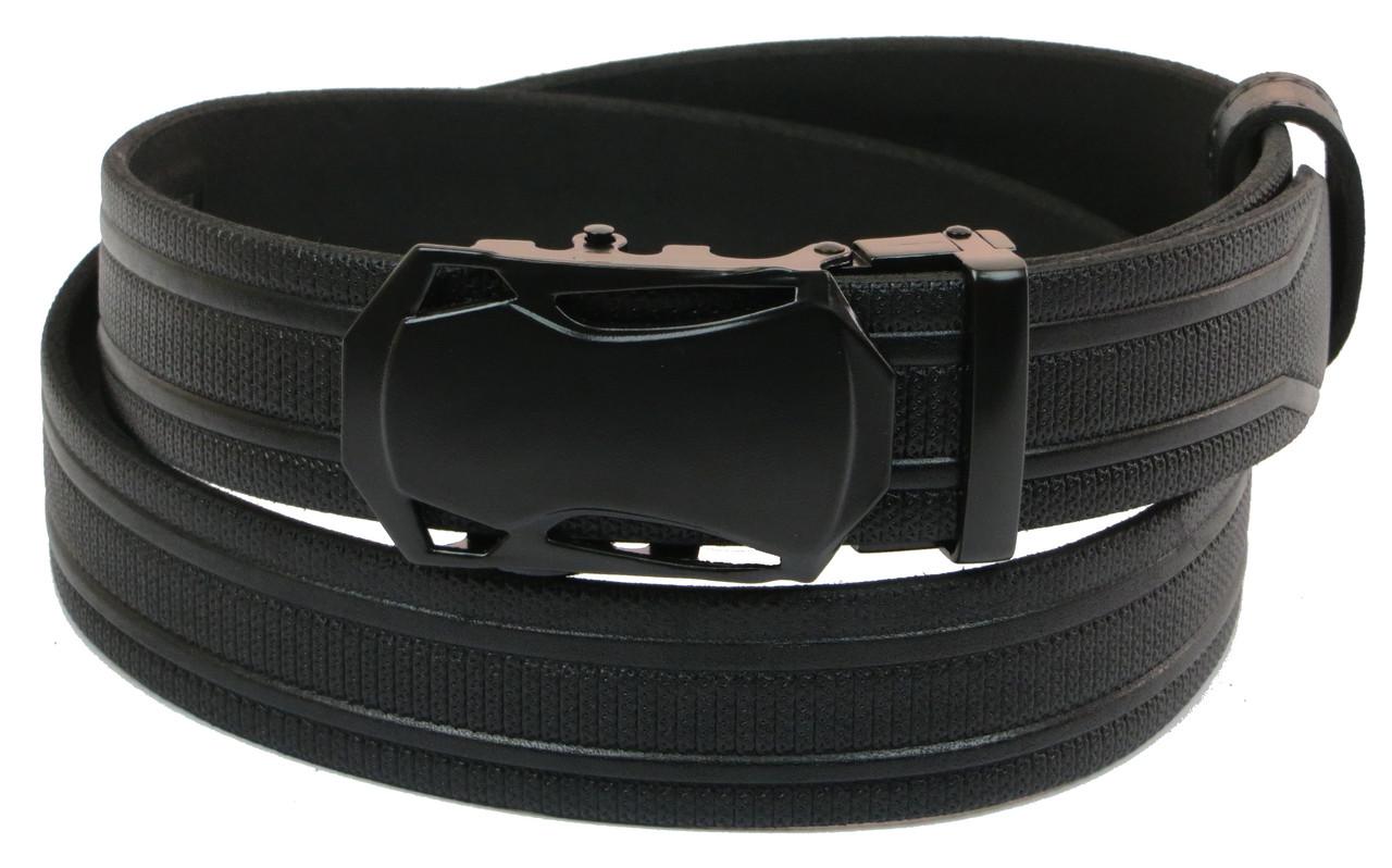 Мужской кожаный ремень под брюки Skipper 1069-35 черный х3,5 см