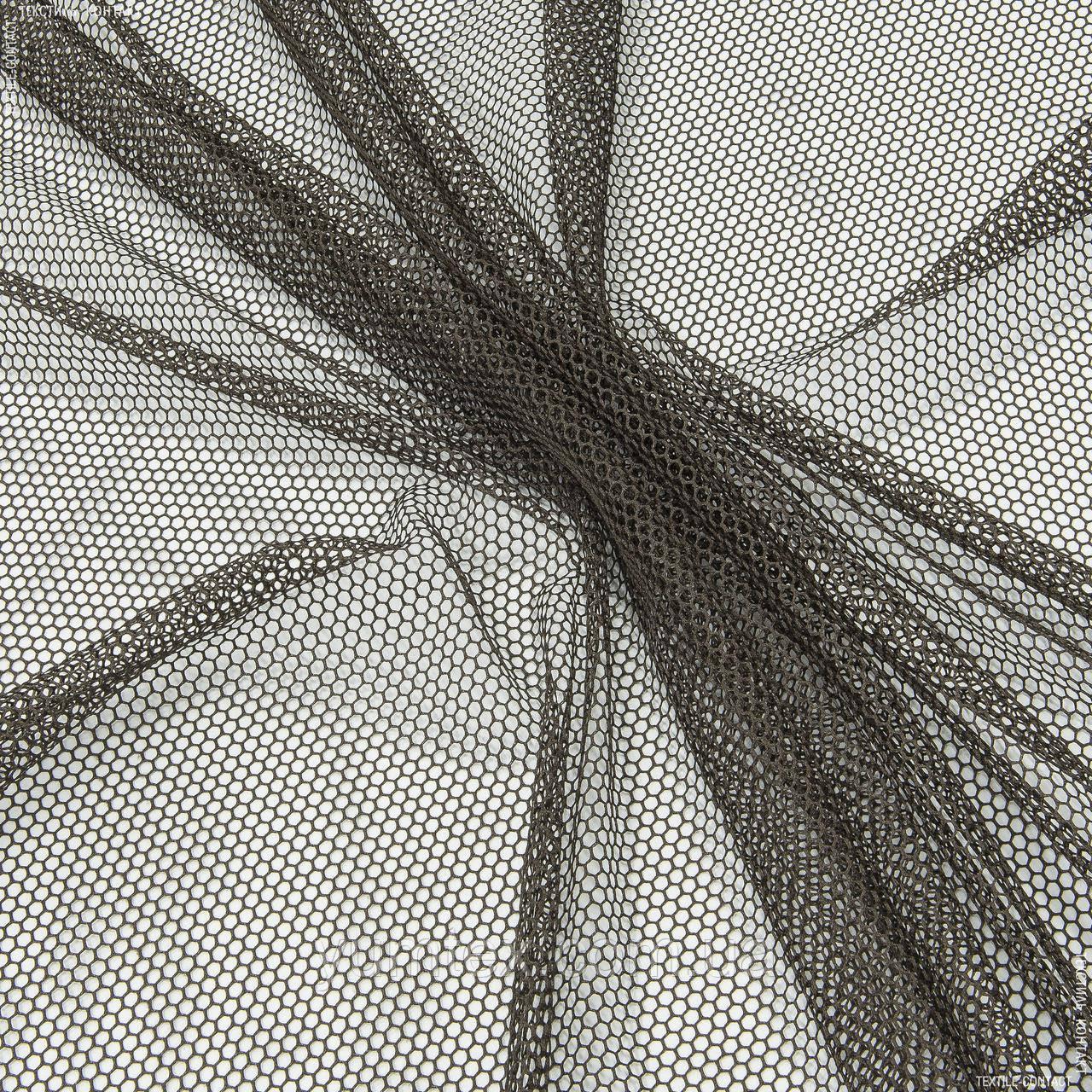 Тюль  сетка соты  коричневый 143128