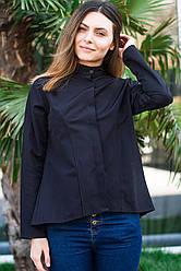 Черная женская рубашка - туника с удлиненной спинкой, длинный рукав, размеры S - XL