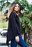 Женская рубашка удлиненная спинка с длинным рукавом черного цвета, фото 2