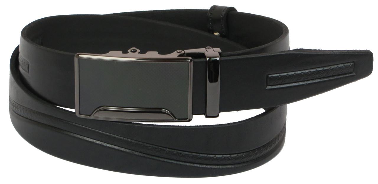 Мужской кожаный ремень под брюки Skipper 1087-35 черный ДхШ: 126х3,5 см.