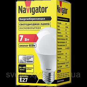 Лампа Navigator 61474 NLL-A60-7-24/48-4K-E27 світлодіодна, низьковольтна