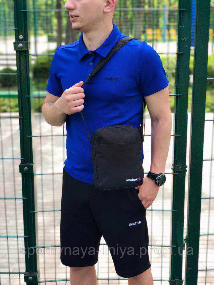 Мужской костюм футболка и шорты (поло) Reebok сине-черный + подарок