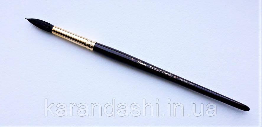 Кисть Pinax Poseidon 821 БЕЛКА микс № 8 круглая короткая ручка, фото 2