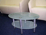 Журнальний скляний столик Еліпс-міні 77 х 47 х 50 см