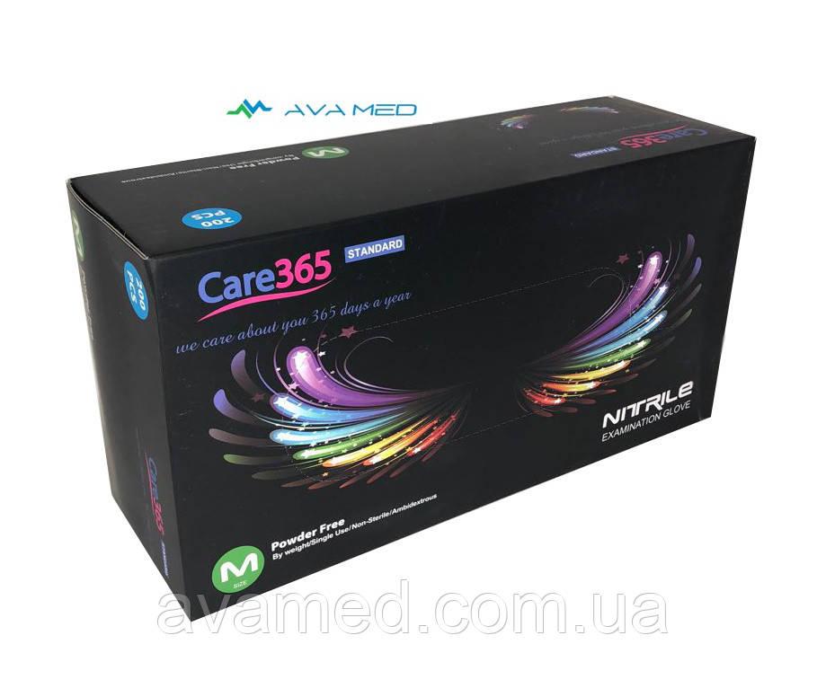 Перчатки нитриловые черные Care 365 BLACK (200 штук/уп.), смотровые нестерильные неопудренные.