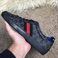 Мужские кроссовки Gucci GG Supreme Black Гуччи черные, фото 1