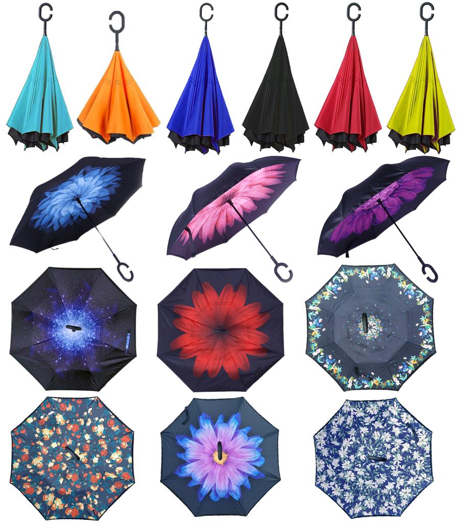 Зонт наоборот Up-Brella | Ветрозащитный зонт обратного сложения