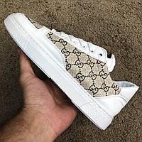 Мужские кроссовки Gucci GG Supreme White Гуччи белые, фото 1