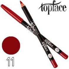 TopFace - Карандаш для губ PT-610 дерево водостойкий Тон 11 dark red матовый
