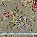 Жаккард  блом/ bloom /фон серый,цветы крупные 148956, фото 3
