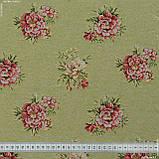 Жаккард блом/ bloom фон ківі,квіти дрібні 148958, фото 3