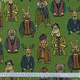 Жаккард animals фон зелений,звірятка кольорові 148967, фото 3