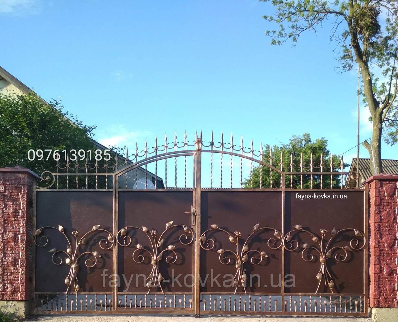 Кованые ворота, калиткой всередине 12850