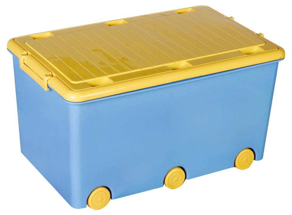 Ящик для игрушек Tega Chomik IK-008  голубой с желтой крышкой