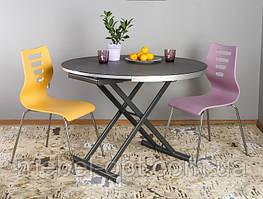 Стол - трансформер B-2433 черно - серый, круглый раскладной стол, высота регулируется от 39 до 75см