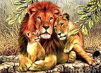 Алмазная вышивка семья львов 20х25 см, полная выкладка, квадратные стразы