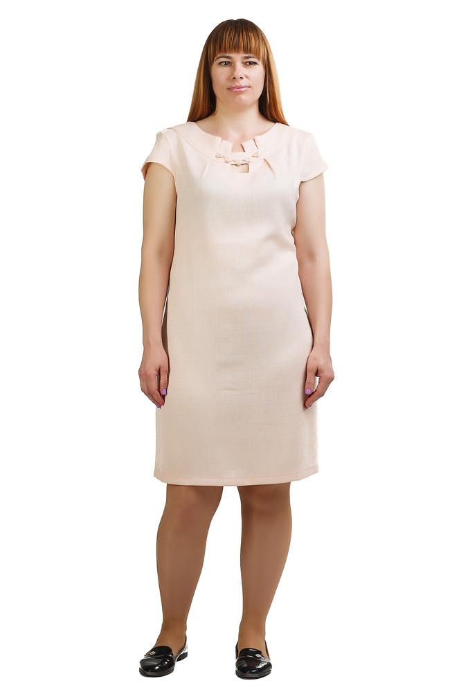 Легкое платье из льна цвета пудра Пл-434
