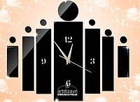 Зеркальные виниловые наклейки - часы настенные прямоугольники декоративные стикеры