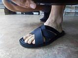 Стильные кожаные чёрные шлёпанцы Rondo, фото 6